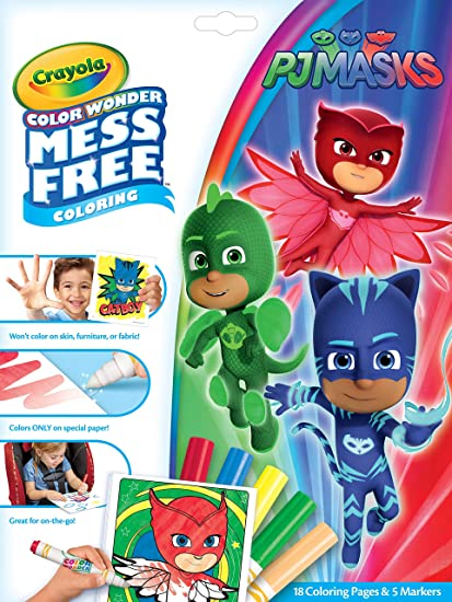 Crayola Color Wonder Pj Masks Coloring Book Pages & Markers, Mess Free  Coloring, Gift for Kids