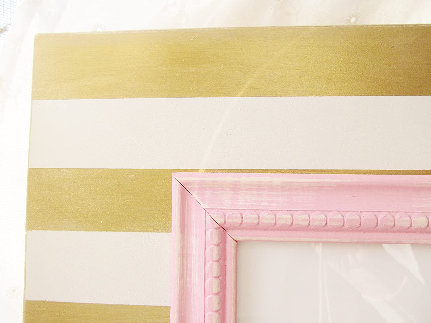 Amazon.com: Shabby Chic Picture Frame in Gold and White Stripes with ...
