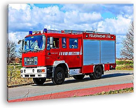 Effet Voiture De Pompier Rouge Dessin Sur Toile Montee Sur