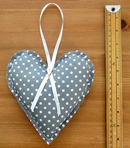 1 x EXTRA LARGE GREY WHITE DOTTY SHABBY CHIC HANGING FABRIC HEART 7ins 18cm