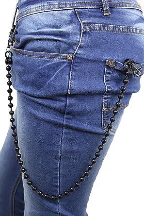 Men Extra Long Silver Metal Balls Charm Wallet Chain KeyChain Biker Jean Trucker