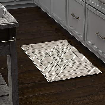 Amazon Com Amazon Brand Rivet Contemporary Area Rug 1 8 X 2 10 Taupe And Grey Furniture Decor