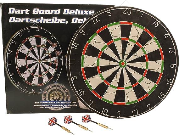 6 Pfeile Dartboard Steeldarts Einsteiger Dart zweiseitig Dartscheibe Ø 38cm