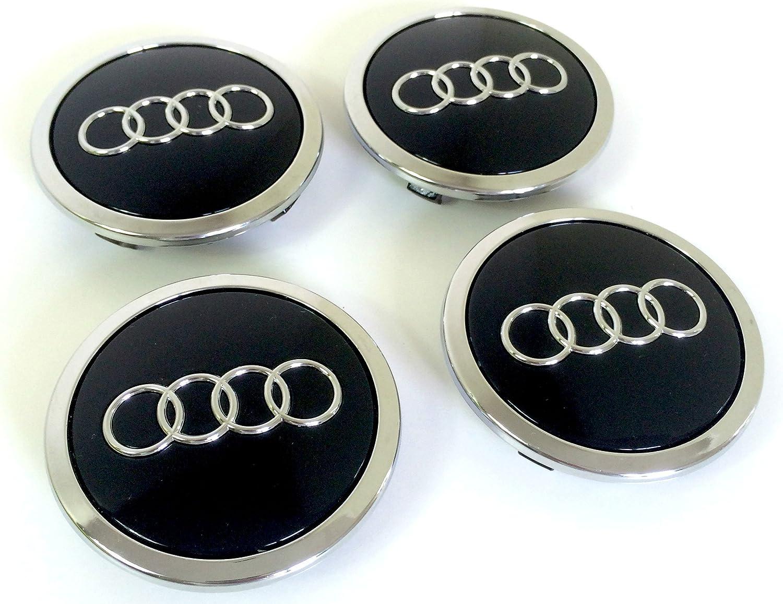 Set of 4 Hub Caps Black 60 mm Diameter for Audi Wheel Centre Hub Caps Hub Caps Set Diameter 6 cm