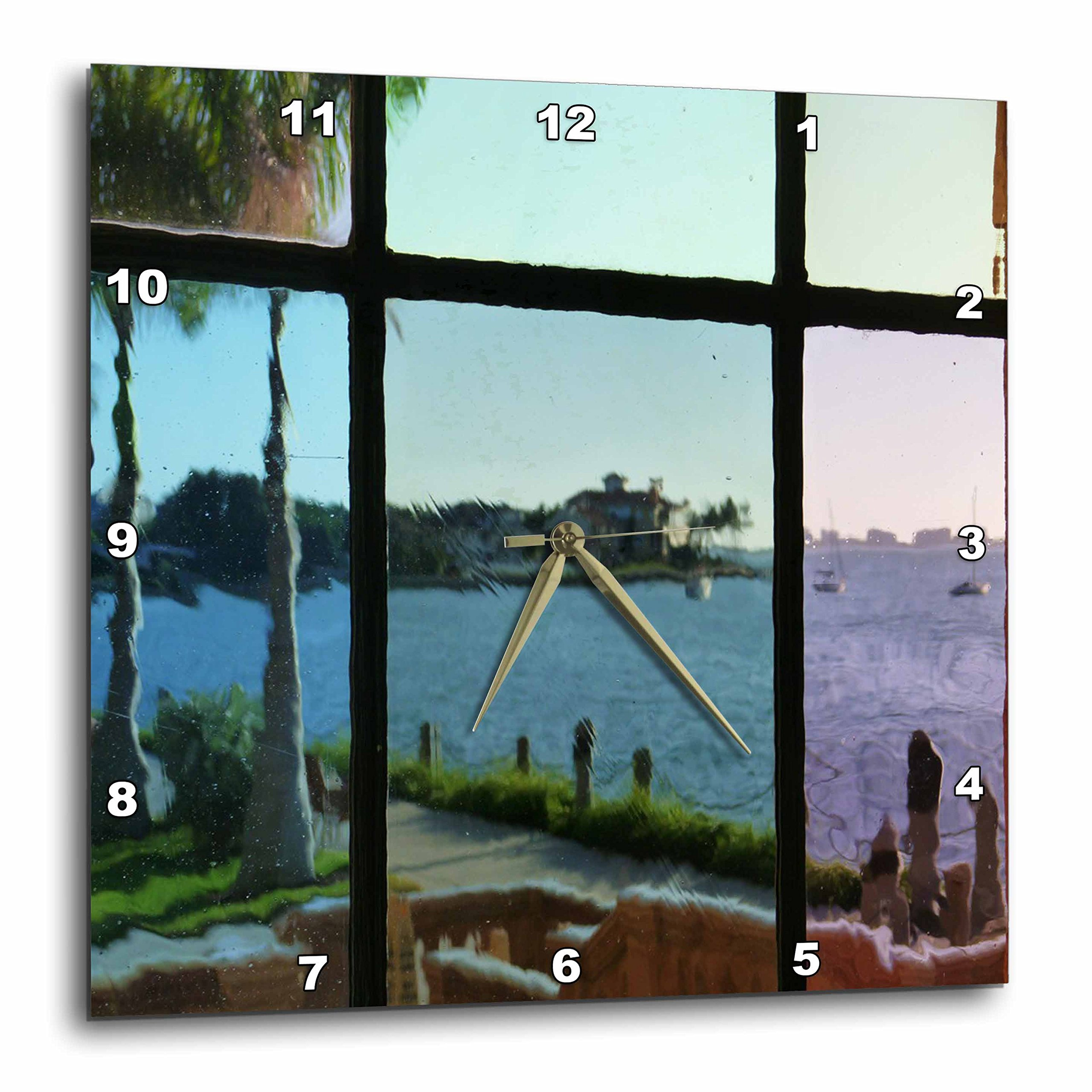 3dRose dpp_62661_2 View Thru Ringling Brothers Estate Vintage Window in Sarasota Florida Wall Clock, 13 by 13-Inch