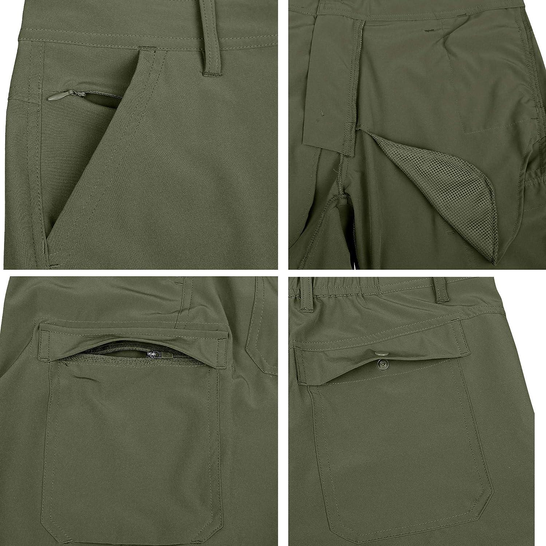 HARD LAND Hiking Pants Mens Convertible Quick Dry Lightweight Zip Off Travel Cargo Pants UV Protection Zipper Legs