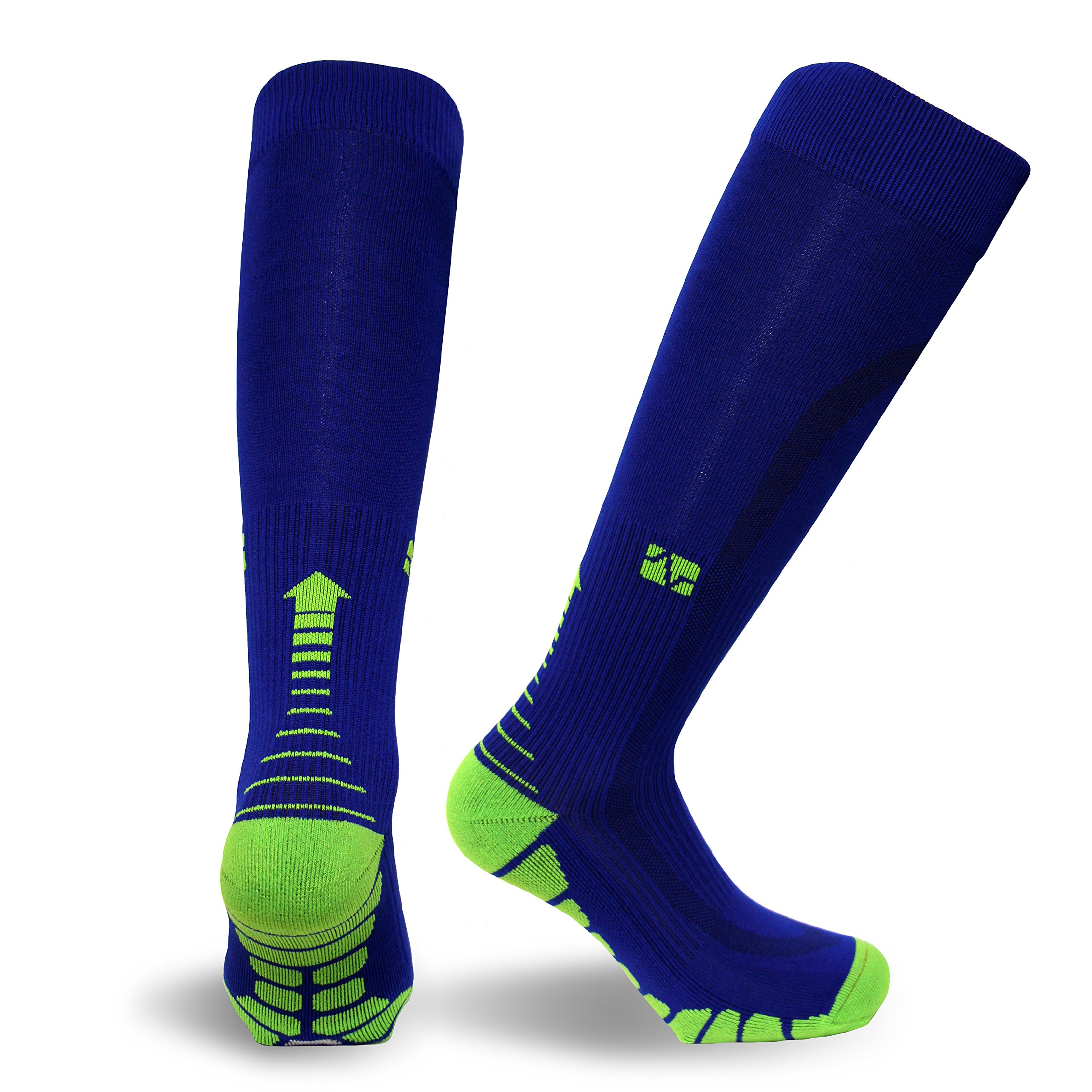 Vitalsox Italy -Patented Graduated Compression VT1211 Running, Training, Race, and Recovery Socks with Odor Resistant Silver DryStat (1-Pair Fitted), Royal/Green, Large VT1211 by Vitalsox