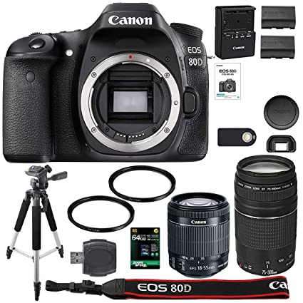 Canon EOS 80D Digital SLR Camera + 18-55mm STM + Canon 75-300mm III Lens +  SD Card Reader + 64gb SDXC + Remote + Spare Battery + Accessory Bundle -