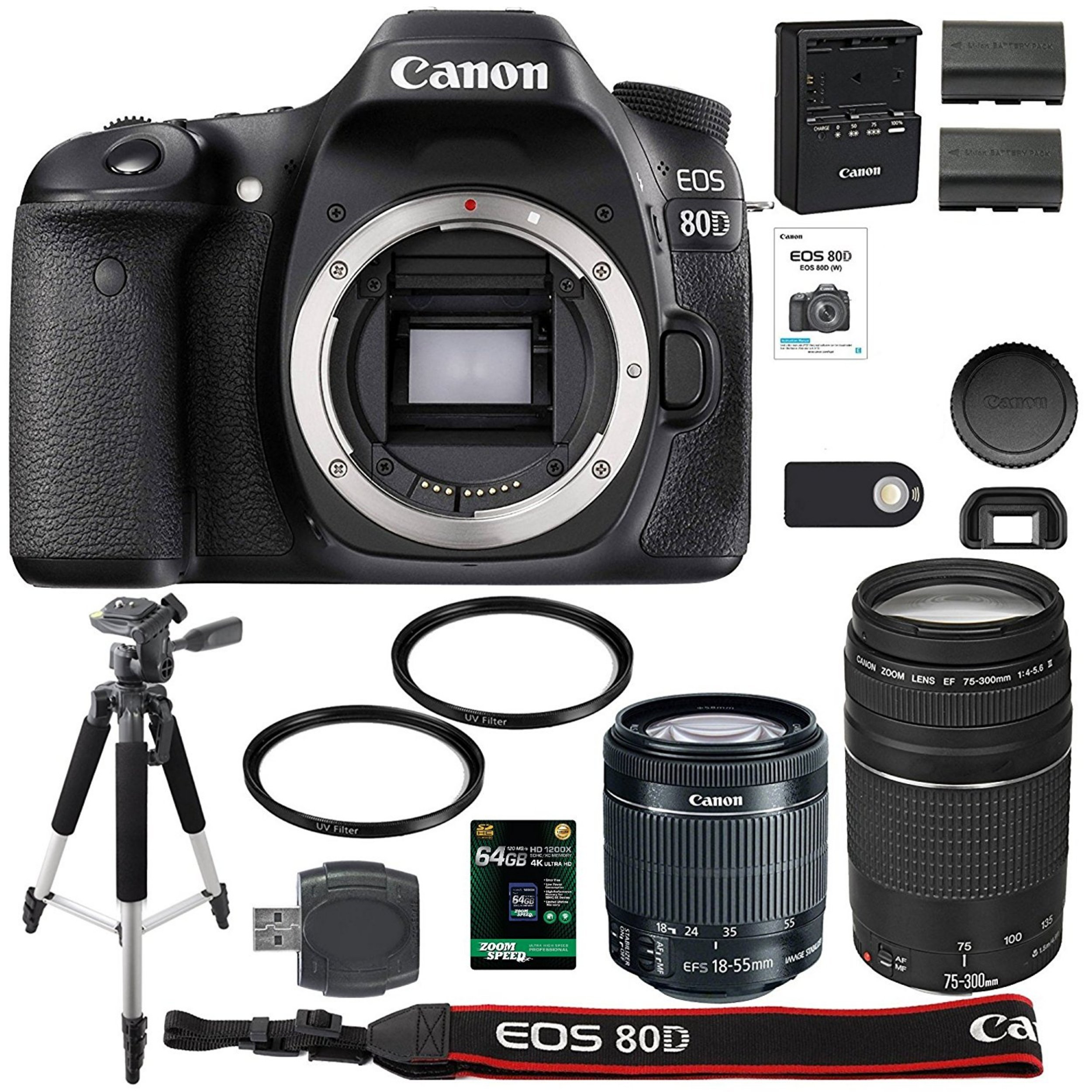 Canon EOS 80D Digital SLR Camera + 18-55mm STM + Canon 75-300mm III Lens + SD Card Reader + 64gb SDXC + Remote + Spare Battery + Accessory Bundle - International Version by AOM