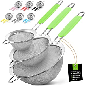 """Zulay (Set of 3) Stainless Steel Mesh Strainer - Strainers Fine Mesh & Wire Sieve with Non-Slip Handles - Assorted Kitchen Strainer For Sifting, Straining, & Draining (3.3"""", 5.5"""", 7.5"""" Sizes) - Green"""