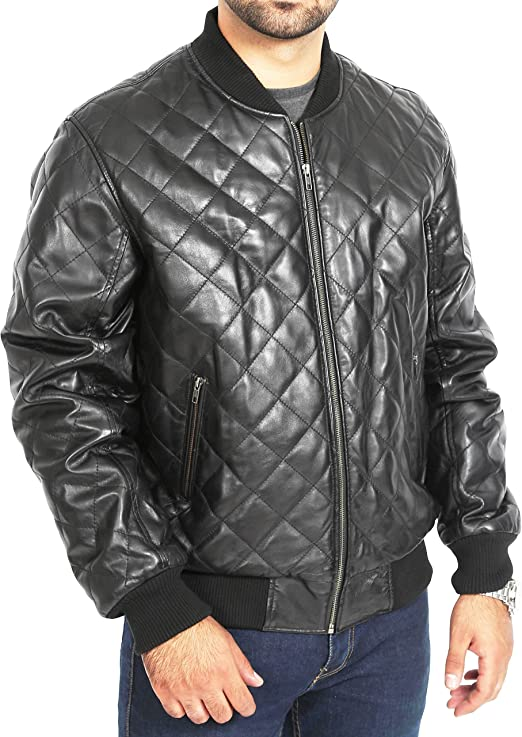 Ladies Fashion Black Jacket Leather Front Diamond Quilted 100/% REAL LEATHER