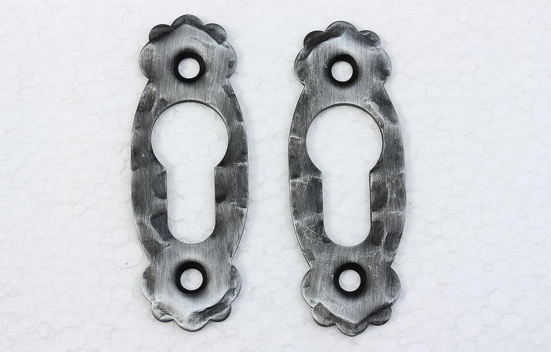 UHRIG 1 Paar / 2 Stü ck Rosetten Oval fü r PZ geschmiedet aus Stahl fü r Tü rschloss #919 eisen-kunst