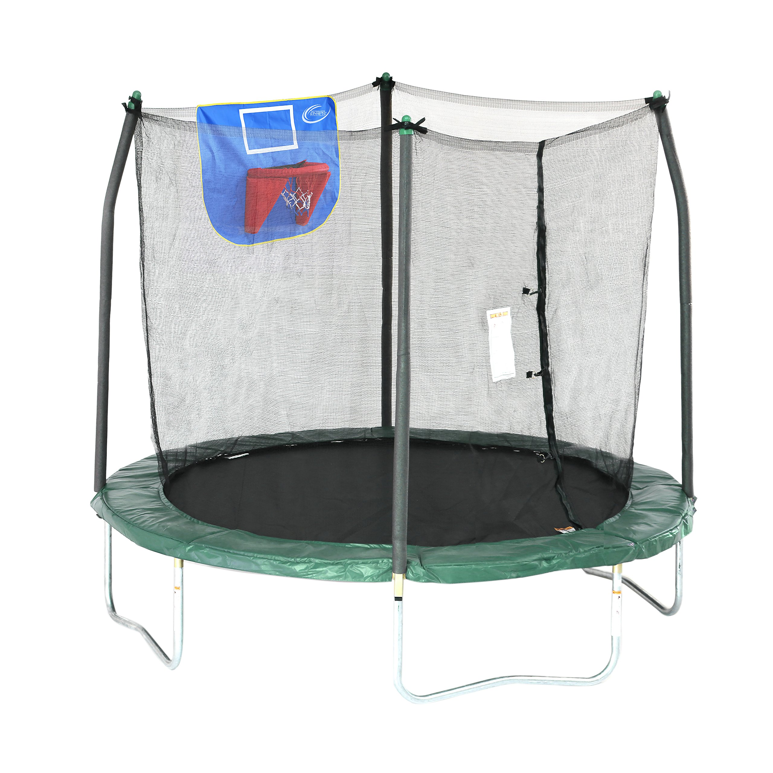 Skywalker Trampolines Jump N' Dunk Trampoline with Safety Enclosure and Basketball Hoop, Green, 8-Feet by Skywalker Trampolines