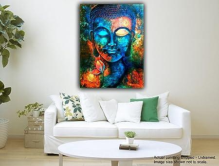 Elegant Tamatina Canvas Paintings   Blue Buddha II   Buddha Paintings For Wall    Buddha Wall Paintings