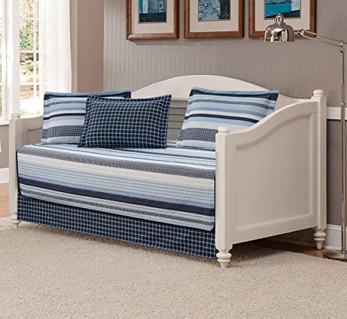 Fancy Linen 5pc Daybed Set Elegant Stripes Blue White New Elegant Stripe
