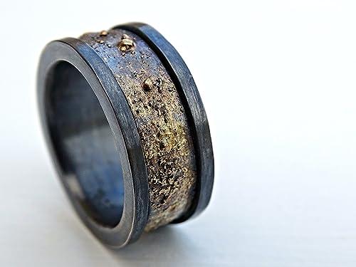 Amazon Com Man Wedding Band Black Gold Ring Men Viking Wedding Band Mens Wedding Band Rustic Black Gold Man Wedding Ring Rustic Gold Wedding Band Handmade