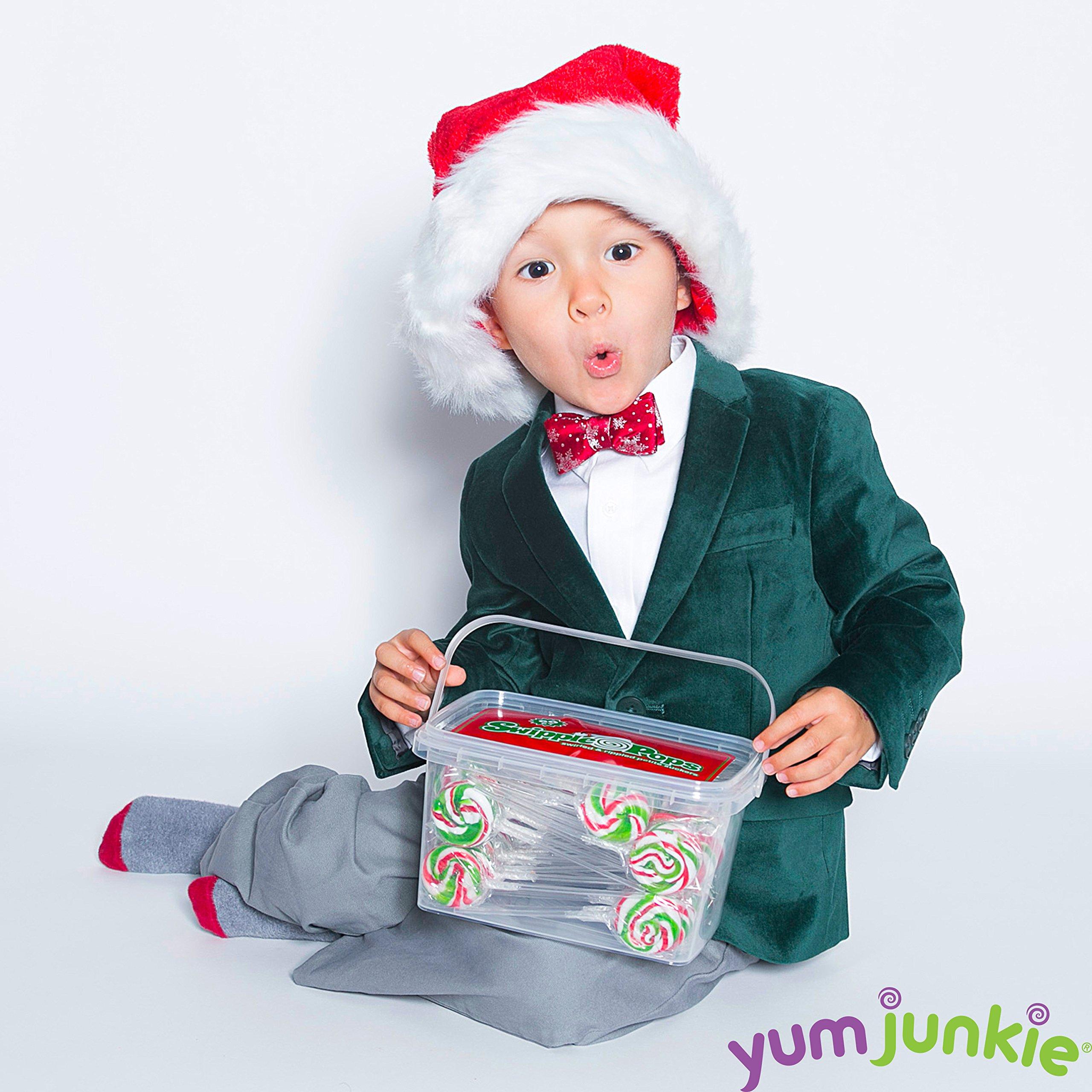 Swipple Pops Petite Swirl Ripple Lollipops - 60-Piece Tub (Christmas) by YumJunkie