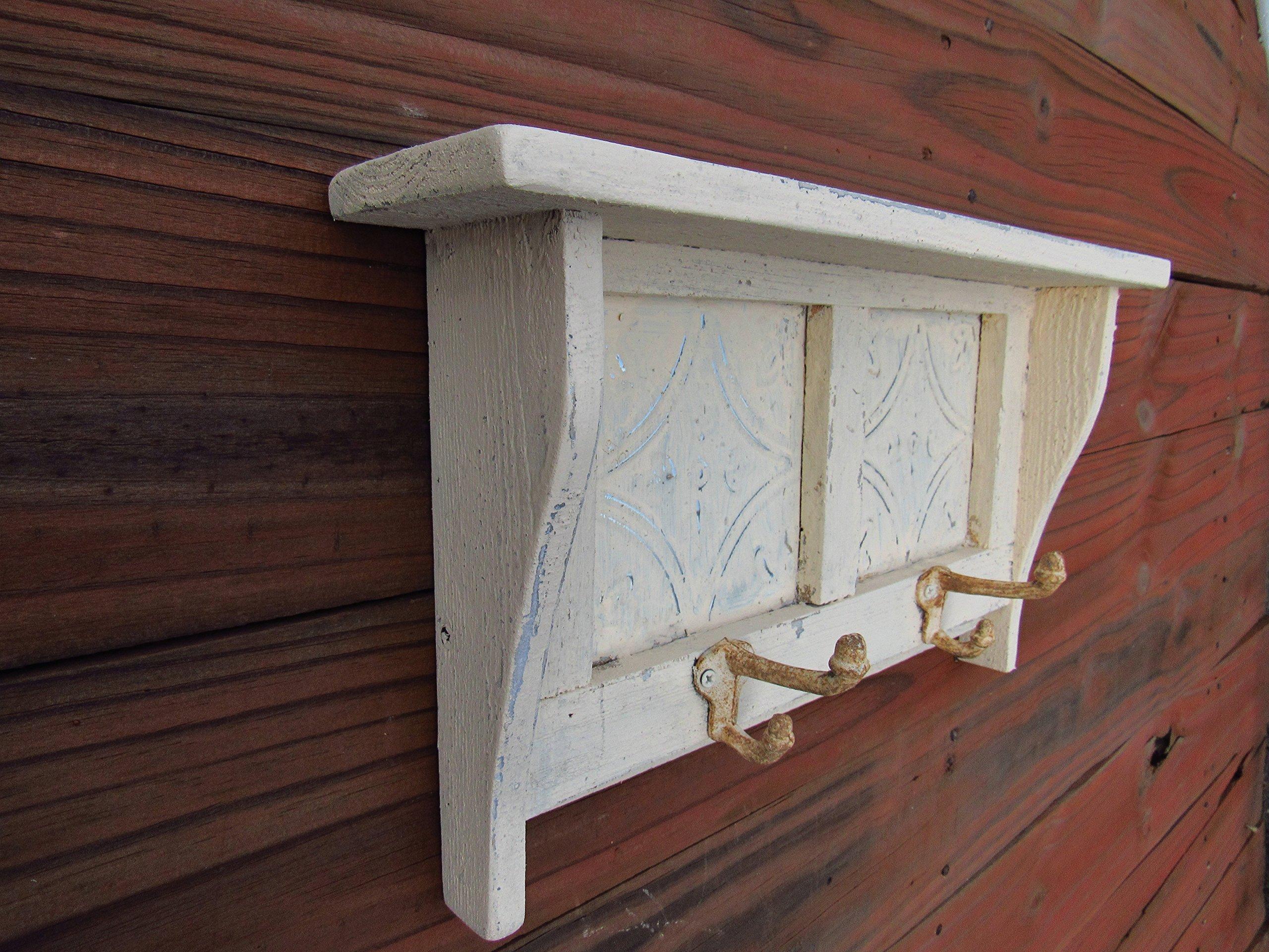 Antique Style Wall shelf Distressed Wall Shelf French Country Cottage Chic Shelf, Kitchen Shelf, glass knob hooks, 18'' long
