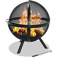 Centurion Supports Omari 360° sphérique rétro en Maille Cage Full-Flame Chauffage de terrasse Jardin et Boule de feu–Finition Noire
