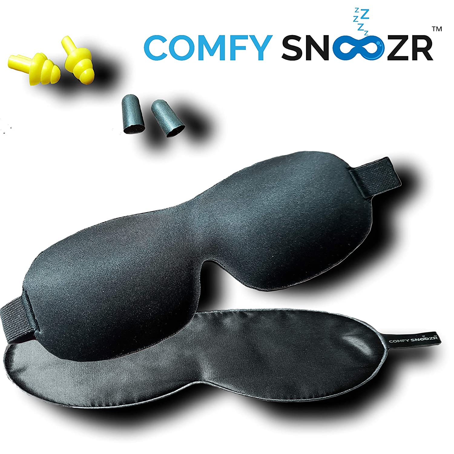 Amazing Black Sleeping Mask Set by Comfy Snoozr | 4-in-1 Set | Super Soft, Comfortable & Adjustable |...