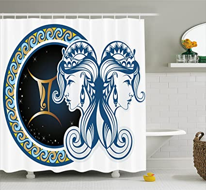 Ambesonne Zodiac Shower Curtain Gemini Icon Motif With Back To Women Future Celestial Information