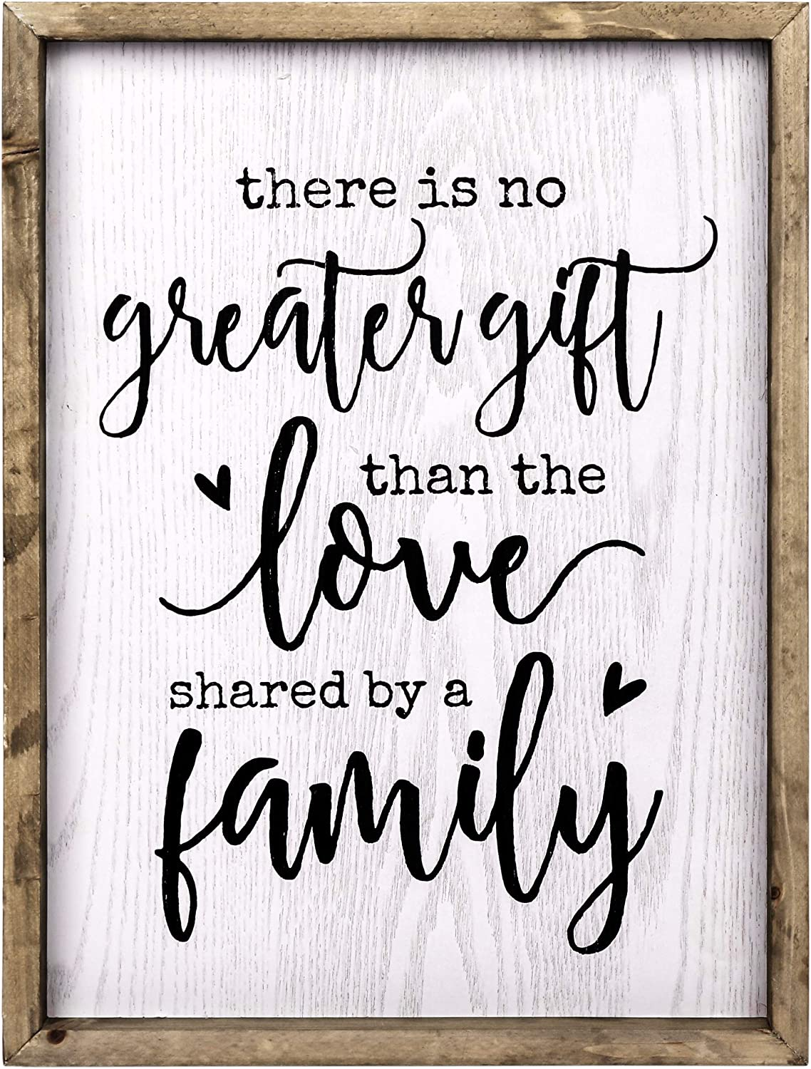 TERESA'S COLLECTIONS Rustic Family Love Sign Wall Hanging Framed Wood Sign for Home Decor Art - No Greater Gift (17 x 13 inch)