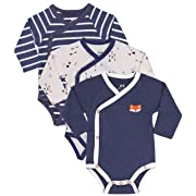 Baby Boy 3-Pack Long-Sleeve Kimono Bodysuit Set, Size 3-6 Month, Infant Boy Bundle Includes Blue Fox Onesie, Arrow Bodysuit and Navy-Stripes Little Boy Clothes.
