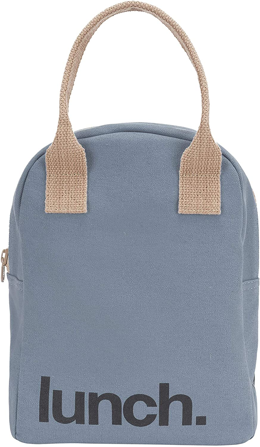Fluf Zipper Lunch Bag | Reusable Canvas Lunch Box for Women, Men, Kids | Organic Cotton Meal Tote | (Blue Lunch)