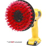 """Power Scrubber Drill Brush Attachment - Clean Tile & Grout 5X faster - Spin Away Rust, Soap Scum, Mineral Deposit, Hard Water Stain - 5"""" Diameter Stiff Red Nylon Bristle - Heavy Duty - Fit Most Drills"""