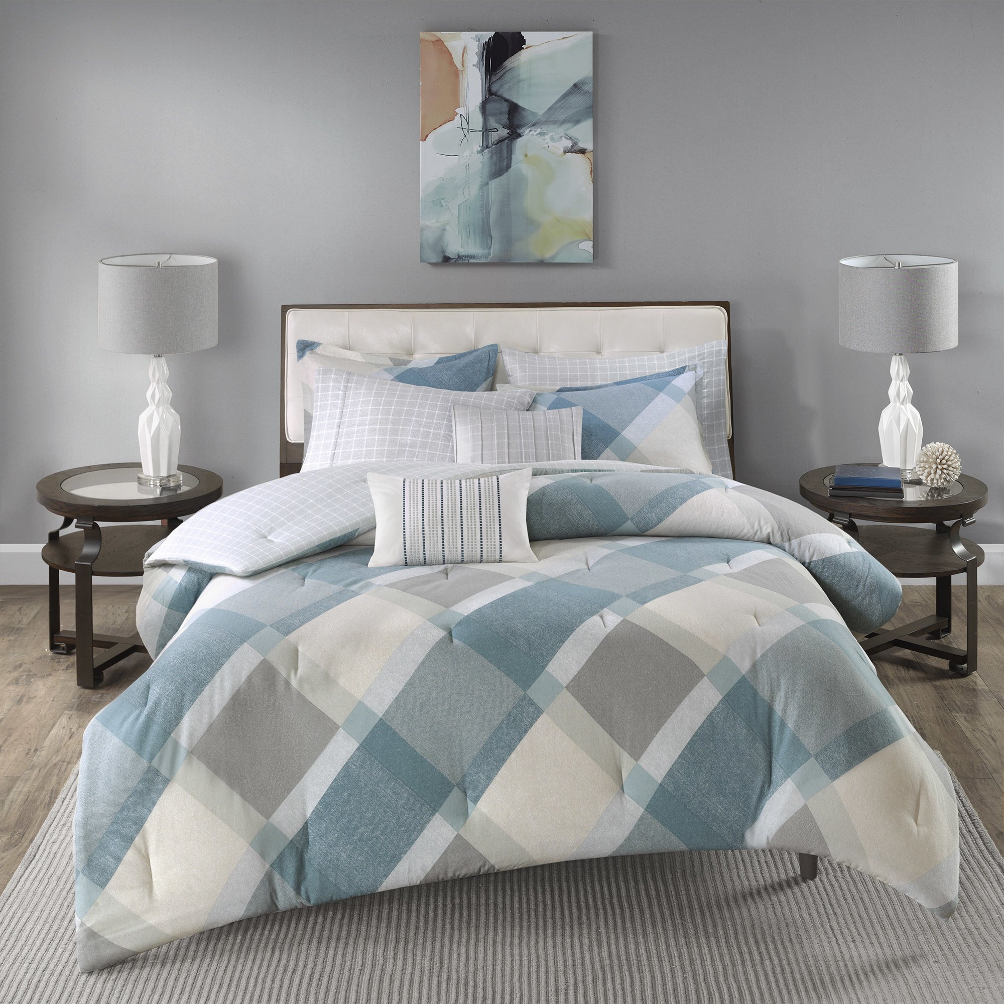 7 Piece Dusty Blue Grey Off White Checkered Diamond Plaid Themed Flannel Duvet Cover King Cal Set, Beautiful Geometric Checker Bedding, Chic Reverse Windowpane Theme Pattern, Cotton