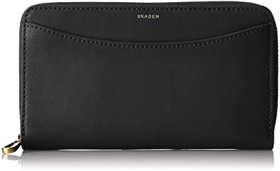 Skagen Denmark Skagen Compact Zip Wallet, Portefeuilles femme, Schwarz (Black), 1.8x10x17 cm (B x H T)