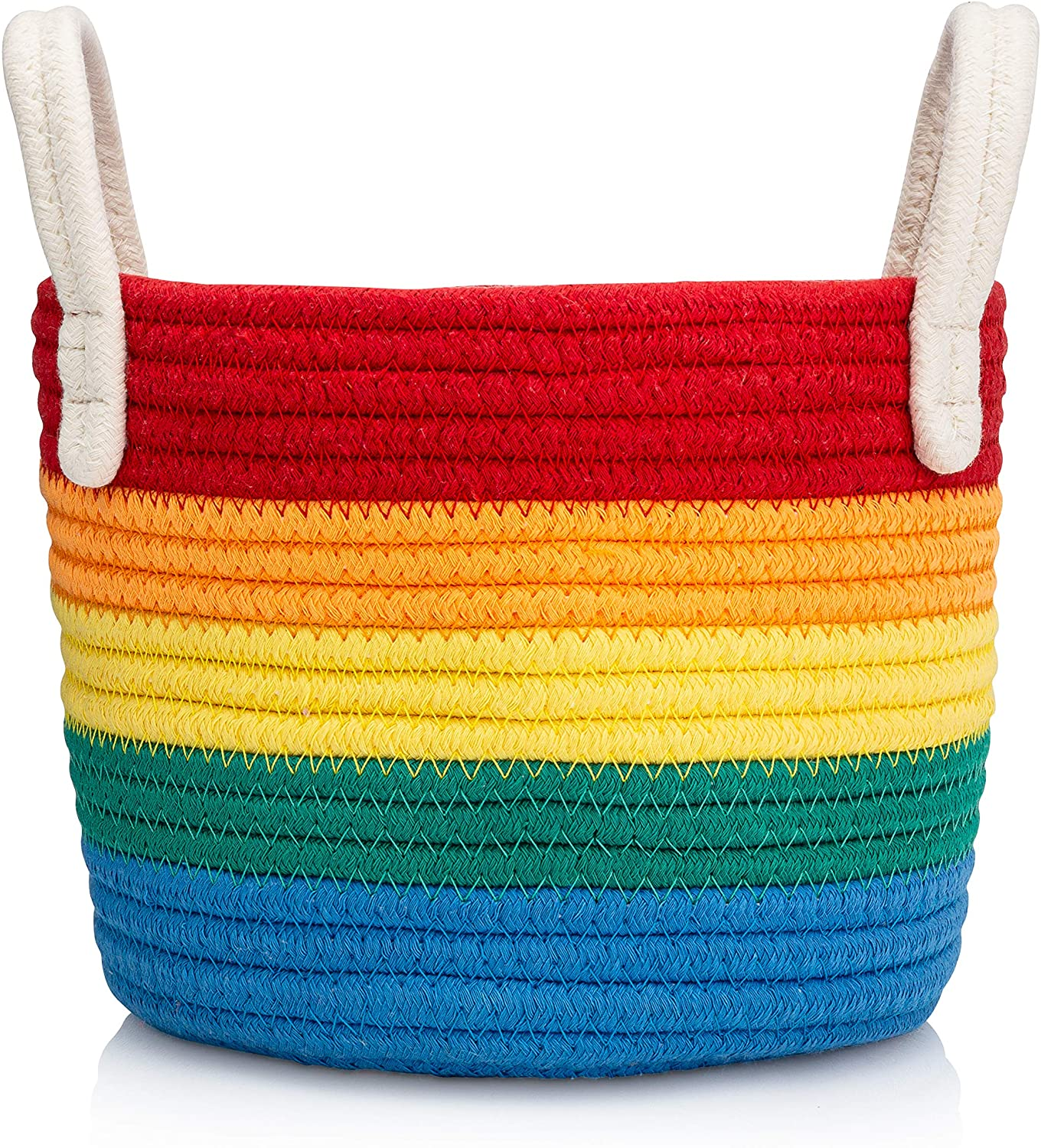 Luv Color Rainbow Decor Cotton Woven Storage Basket Perfect for Rainbow Playroom Decor Nursery Kids Bedroom Bathroom or Classroom - Great for Organizing Toys Art Supplies Clothes