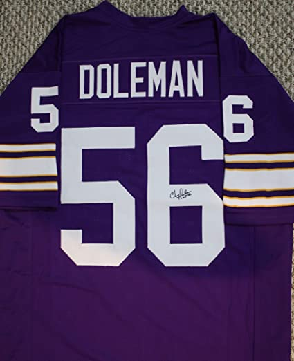 New Autographed Chris Doleman HoF 12 Minnesota Vikings Custom Jersey w  for cheap