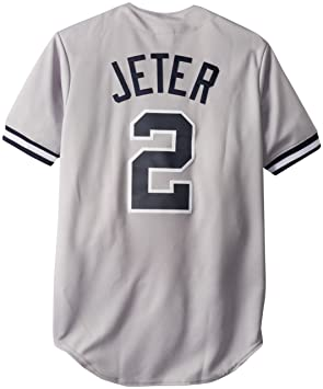 6dbbc10ec Majestic MLB New York Yankees Derek Jeter Road Gray Replica Baseball Jersey,  Road Gray,