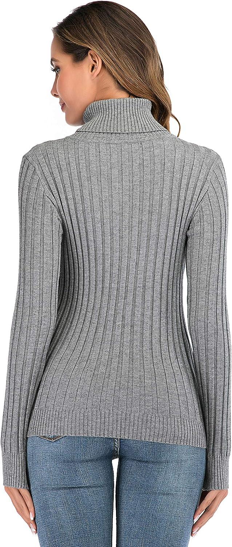 Enjoyoself Donna Maglione Elegante Collo Alto Maniche Lunghe Pullover Accollato Maglia a Maglieria Dolcevita Classico Invernale
