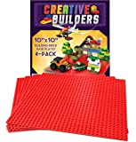 """Self Adhesive Lego Compatible Baseplates - Peel and Stick Base plates for Kids Toy Table, 4 pack 10X10"""" (Red) Creative Builders"""