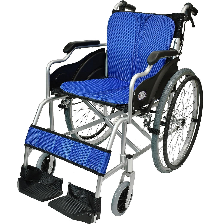 ケアテックジャパン 自走式 アルミ製 折りたたみ 車椅子 ハピネス ブルー CA-10SU B00S0OANG4  01 ブルー(青色)