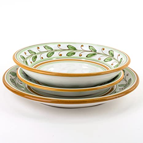 Piatti Ceramica Di Caltagirone.Posto Tavola In Ceramica Set Di 3 Piatti Per Servizio In Ceramica