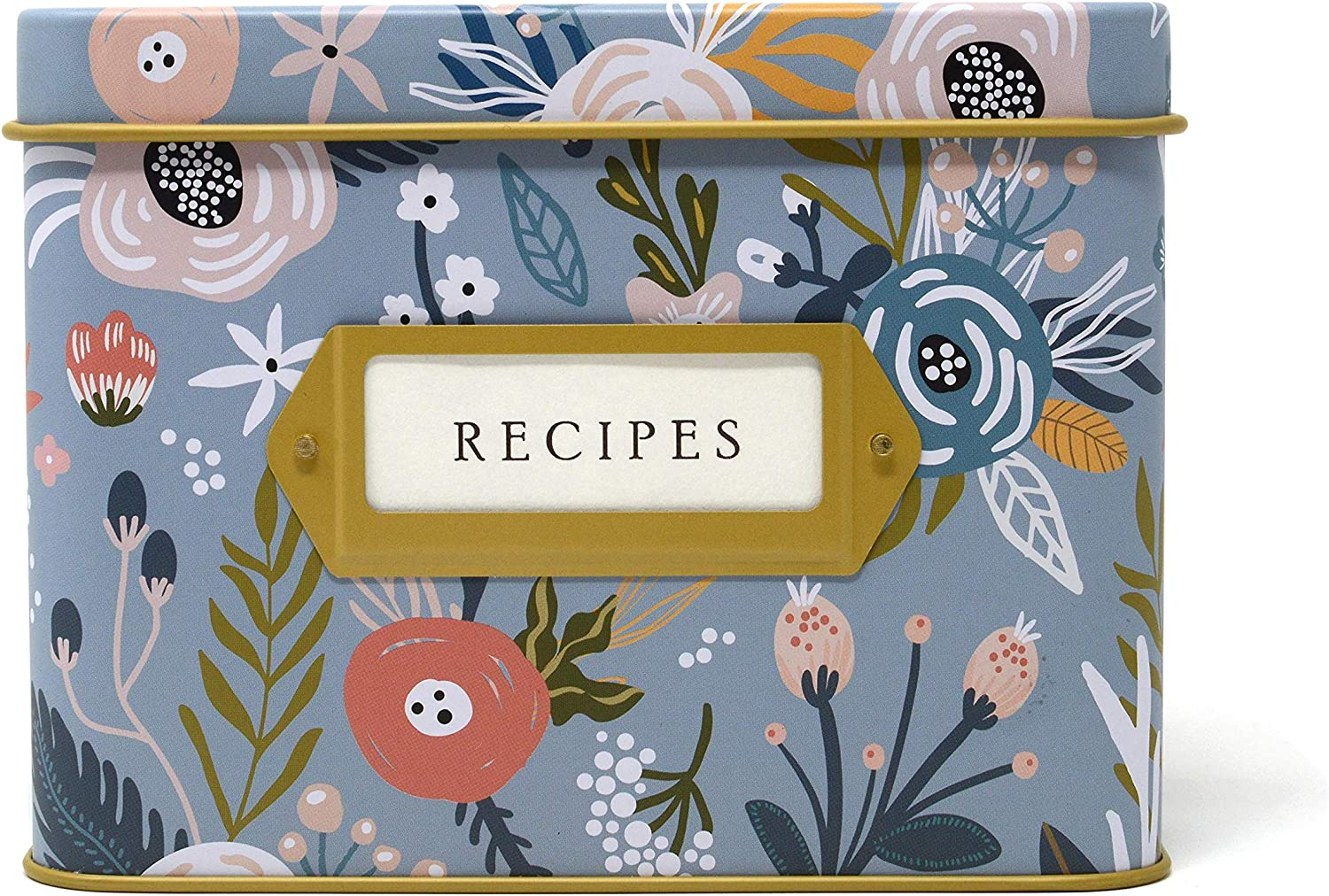Jot & Mark Decorative Tin for Recipe Cards   Holds Hundreds of 4x6 Cards (Garden Floral)
