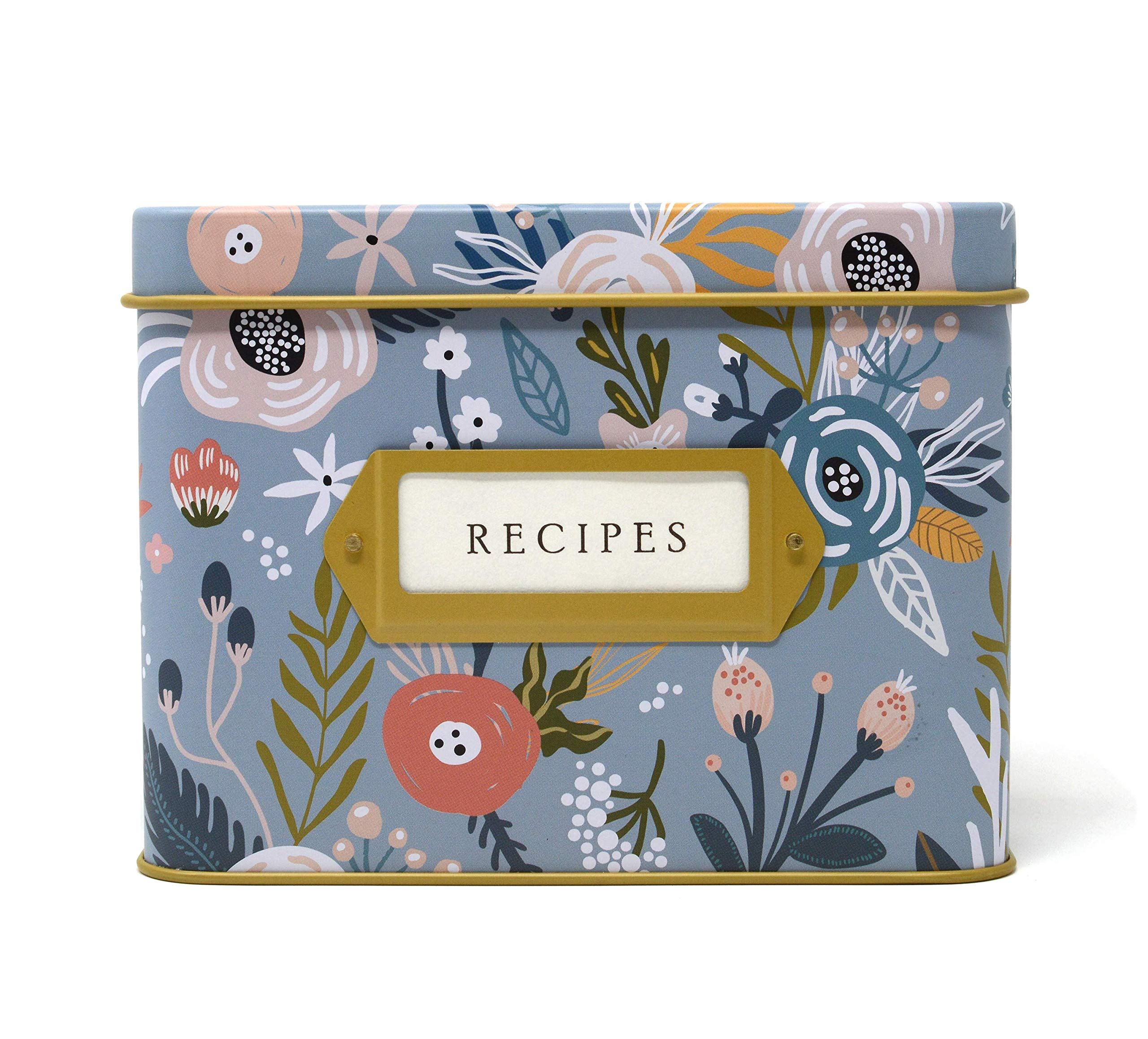 Jot & Mark Decorative Tin for Recipe Cards | Holds Hundreds of 4x6 Cards (Garden Floral) by Jot & Mark