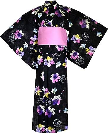 myKimono Bata Kimono Japonesa Tradicional para Mujer con cinturón OBI y cinturón Koshi-himo Delgado - Negro - Talla única: Amazon.es: Ropa y accesorios