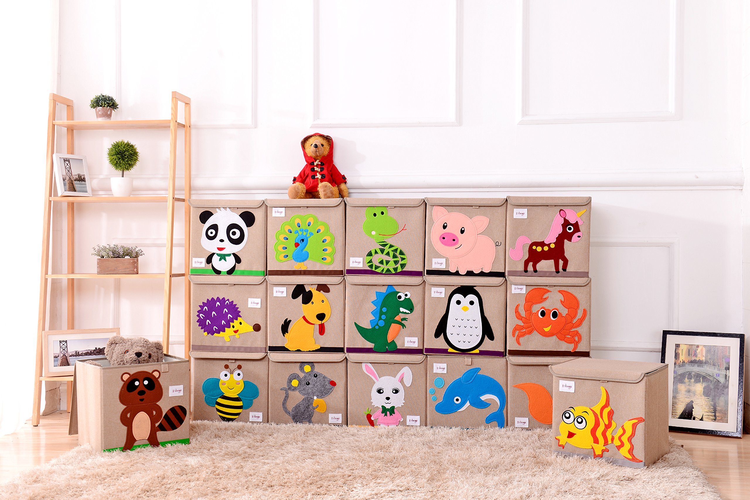 HIYAGON 13''x13''x13''Storage Box/Bin/Cube/Basket/Chest/Organizers with Lids for Bedroom, Nursery, Playroom, Toys, Clothing, Blankets, Books, More(Hedgehog) by HIYAGON (Image #7)