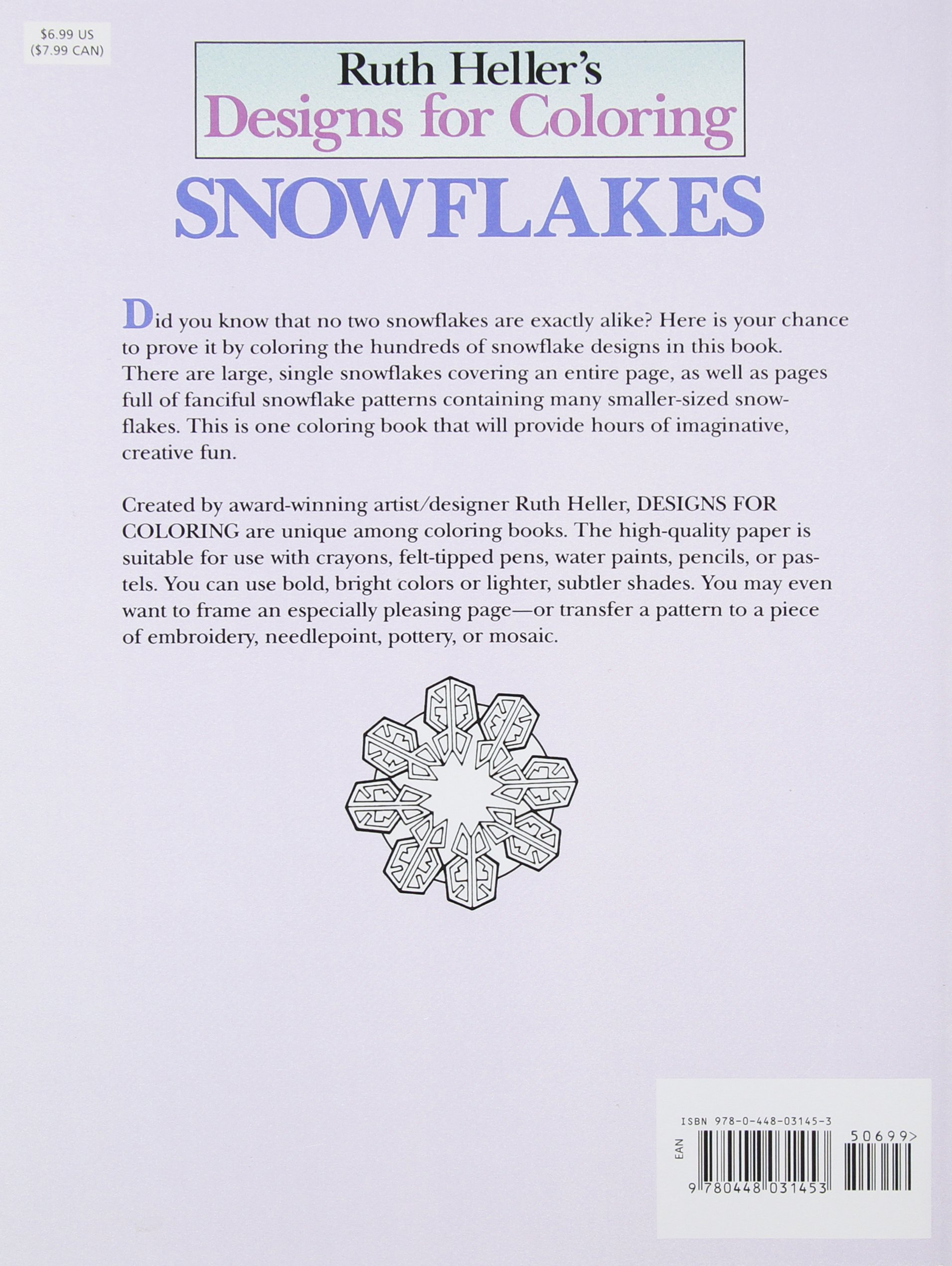 Coloring book snowflake - Designs For Coloring Snowflakes Ruth Heller 9780448031453 Amazon Com Books