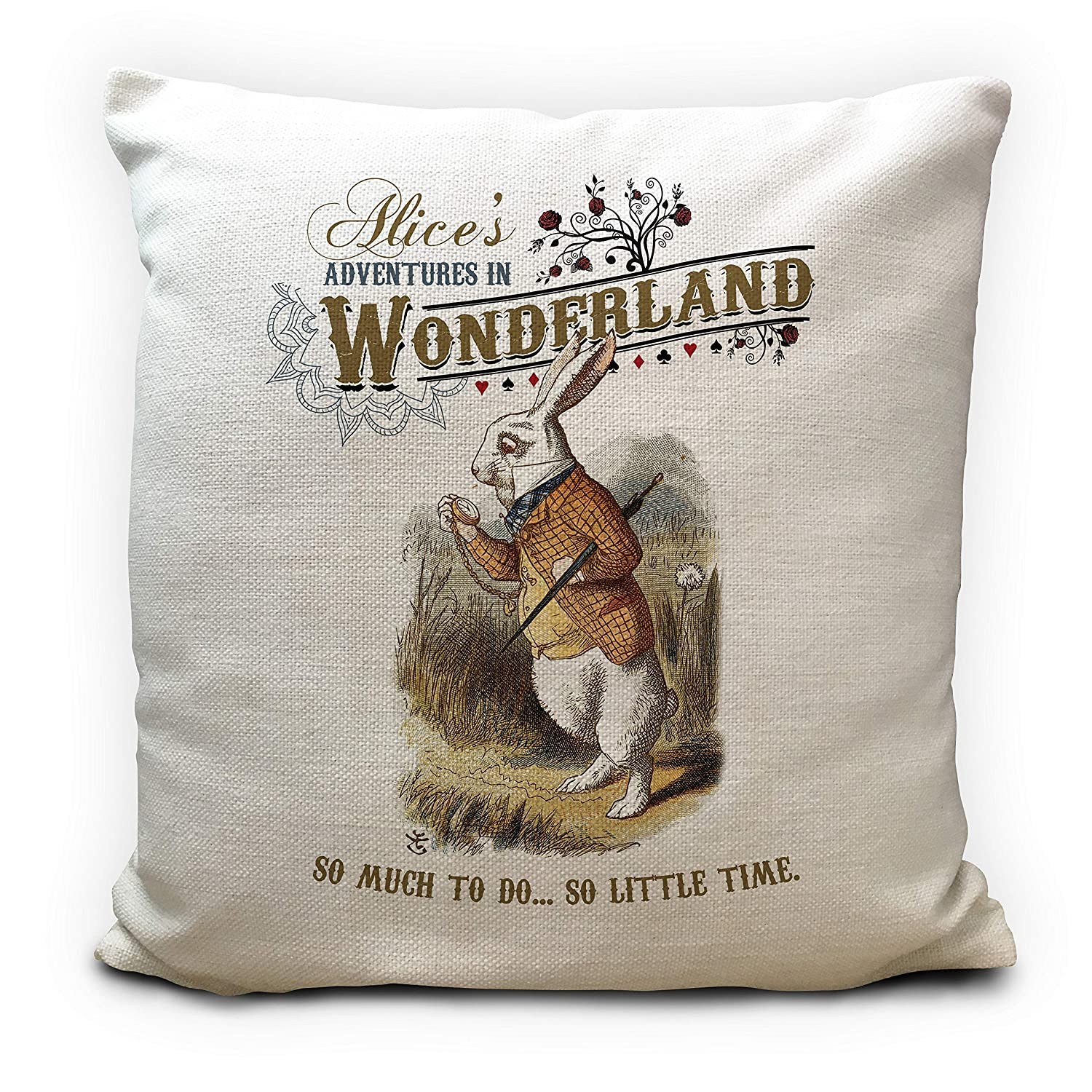 Alice in Wonderland Cushion Cover Gift Pillow Case So Little Time 16 inch 40cm