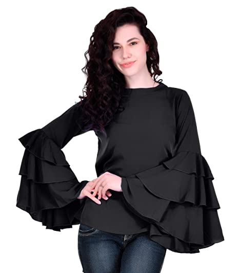 e12fb77b0d50e VAANYA Round Neck 3 Freel Bell Sleeve Rayon Casual Black Top for Women(S)