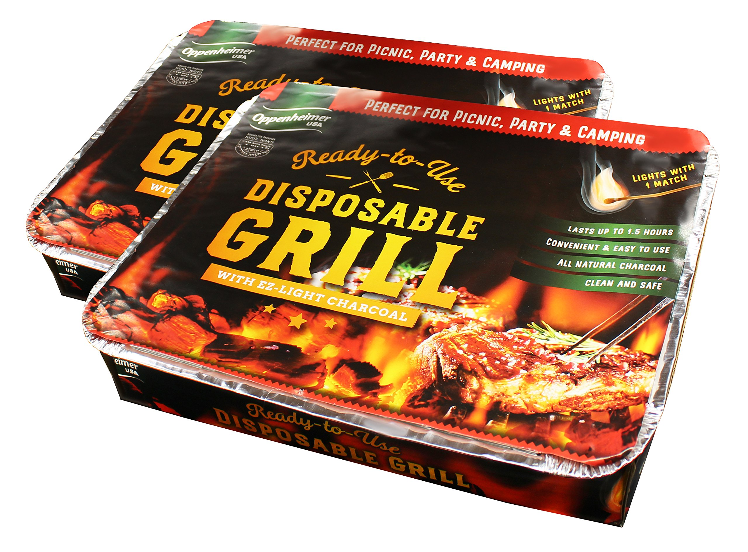 2-Pack Disposable Charcoal Grill On-the-Go Ready to Use EZ To Light Kosher By Oppenheimer USA
