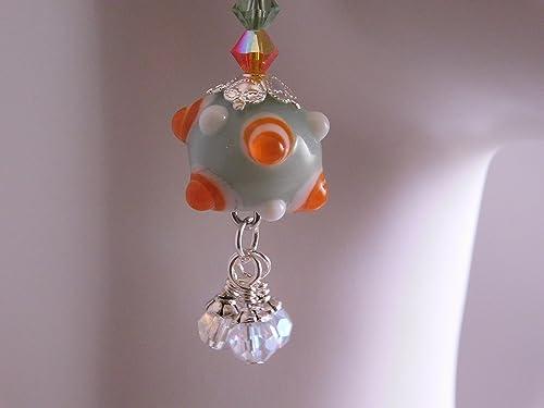long earrings Lampwork glass rings nanny pin rings bronze and Lampwork buckles green bronze earring