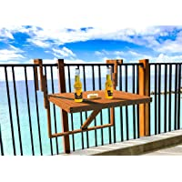 Stockholm Adjustable Folding Balcony Deck Table Hanging Patio Railing Table (Golden Teak) by INTERBUILD