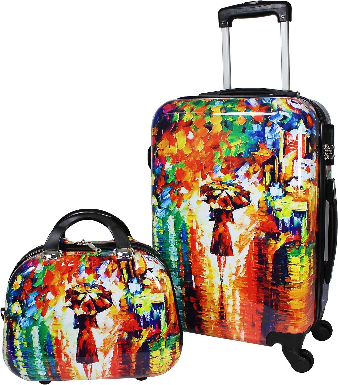World Traveler 2-Piece Carry-on Hardside Spinner Luggage Set-Paris Nights