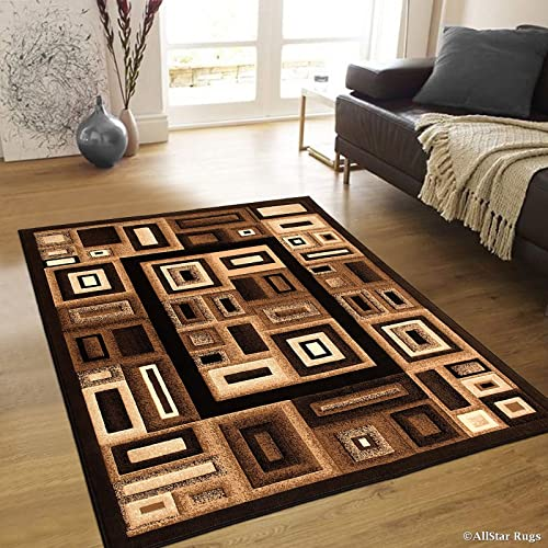 Allstar 8×10 Black and Mocha Abstract Machine Carved Rectangular Accent Rug with Ivory and Espresso Geometric Design 7 9 x 10 2